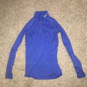 Nike blue athletic 1/4 zip long sleeve